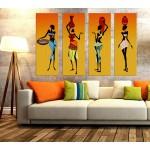 4pOzl8 Afrikalı Kadınlar 4 Parça Kanvas Tablo