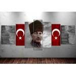 Atatürk Gençliğe Hitabe İstiklal Marşı 80x195cm 7 Parça Kanvas Tablo